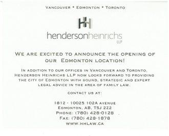 Henderson Heinrichs LLP Edmonton Office Announcement Card